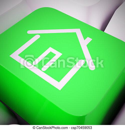 vrai, concept, propriété, moyens, -, illustration, par, propriété, internet, maison, icône, 3d - csp70459053