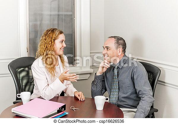 vrai, conversation, client, agent, propriété - csp16626536