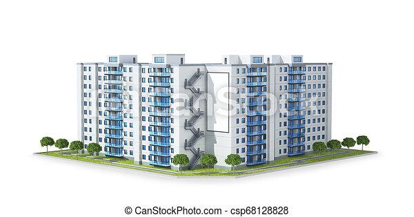 vrai, développement, concept, propriété, urbain, résidentiel, moderne, illustration, condominium, growth., bâtiment., ou, 3d - csp68128828