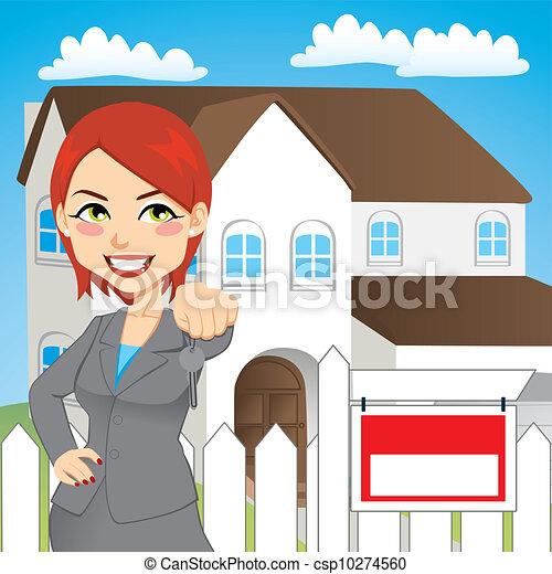 vrai, femme, propriété - csp10274560