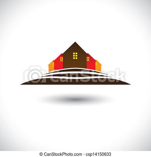 vrai, house(home), propriété, &, colline, résidences, marché, icône - csp14150633