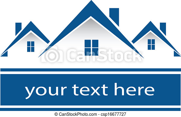 vrai, maisons, logo, propriété - csp16677727
