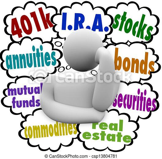 vrai, quel, i.r.a., annuity, propriété, personne, pensée, titres, propriété, liens, fonds communs placement, choix, investir, avenir, 401k, mots, stocks, mieux, émerveillements - csp13804781