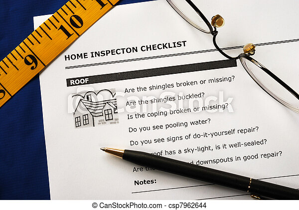 vrai, rapport, inspection, propriété - csp7962644