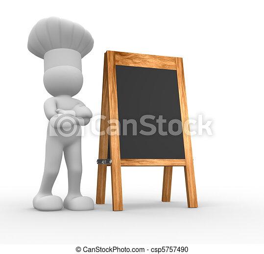 vrchní kuchař, menu, deska - csp5757490