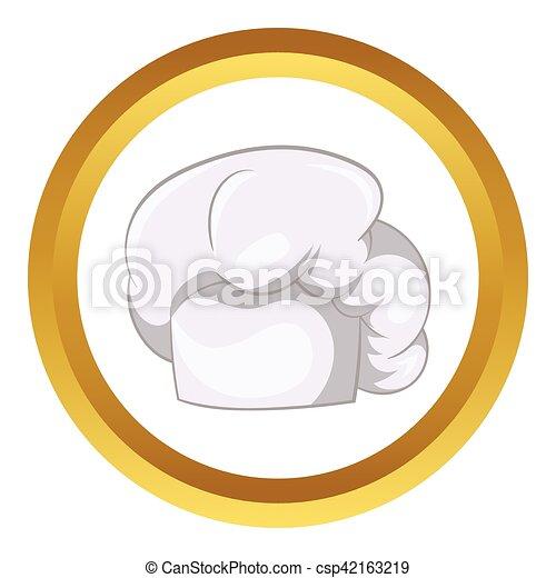 vrchní kuchař, neposkvrněný, vektor, klobouk, ikona - csp42163219