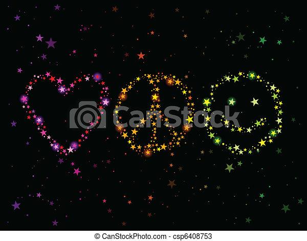 vrede, liefde, geluk - csp6408753
