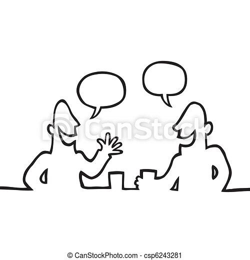 vriendelijk, gesprek, hebben, twee mensen - csp6243281