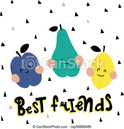 Vrienden Best Gekke Lettering Fruit Tekst Hand