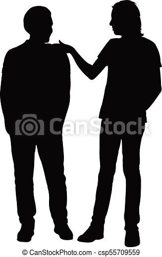 vrienden, vector, silhouette, samen - csp55709559