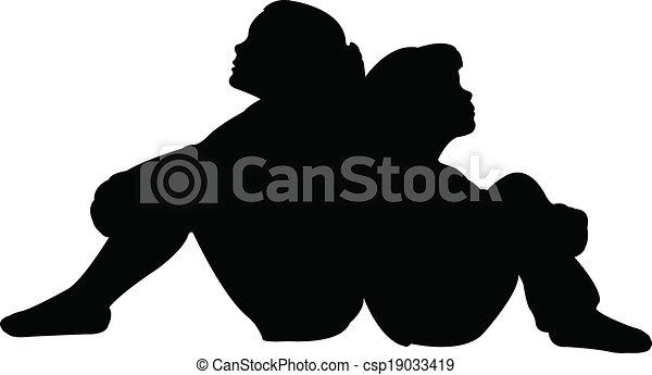 vrienden, vector, silhouette, samen - csp19033419