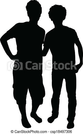 vrienden, vector, silhouette - csp18497306