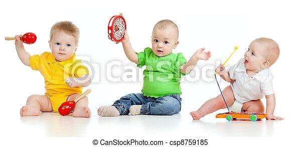 vrijstaand, kinderen, toys., achtergrond, witte , muzikalisch, spelend - csp8759185