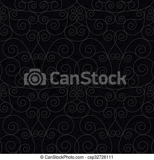 vrijstaand, seamless, oosters, achtergrond, floral, black  - csp32726111