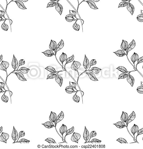 vrijstaand, seamless, oosters, achtergrond, floral, black  - csp22401808