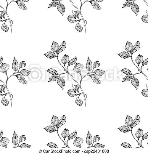 vrijstaand, seamless, oosters, achtergrond, floral, black  - csp22401808