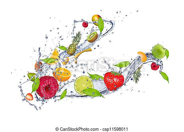 vrijstaand, water, malen, vermalen, fruit, gespetter, achtergrond, witte  - csp11598011