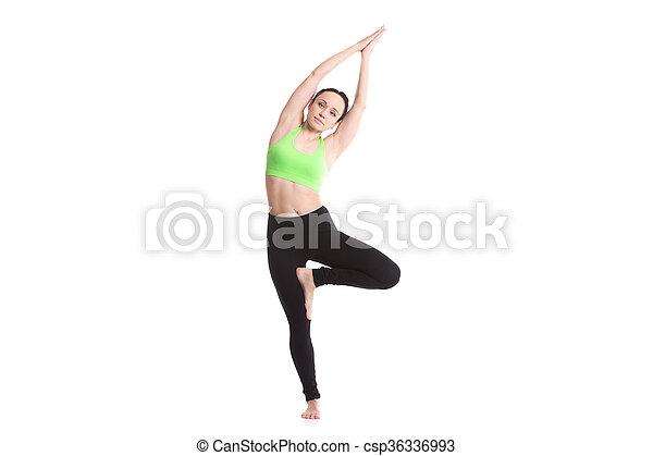 vrikshasana curvatura ioga posa vrikshasana menina