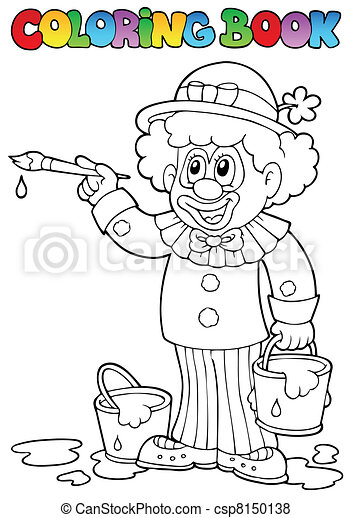 vrolijk, 2, kleurend boek, clown - csp8150138