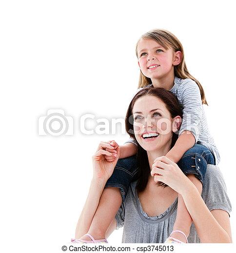 vrolijk, dochter, haar, geven, rijden, ritje op de rug, moeder - csp3745013