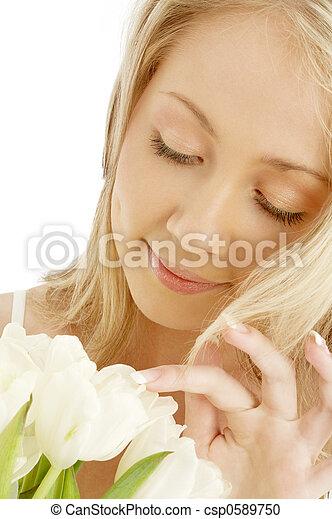 vrolijk, tulpen, witte , blonde  - csp0589750