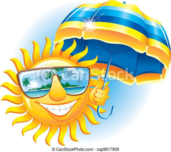 vrolijk, zon, paraplu - csp9817909