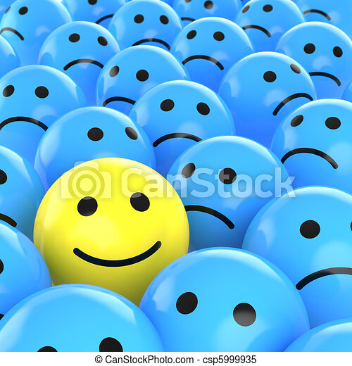 vrolijke , degene, tussen, smiley, verdrietige  - csp5999935