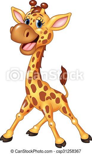 vrolijke , giraffe, vrijstaand, spotprent - csp31258367