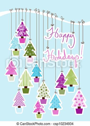 vrolijke , kaart, feestdagen - csp10234934