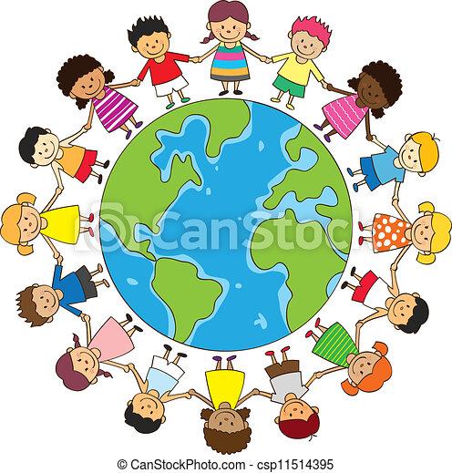 vrolijke , kinderen vasthoudende handen - csp11514395