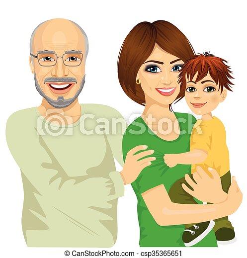 vrolijke , moeder, haar, granddad, zoon - csp35365651