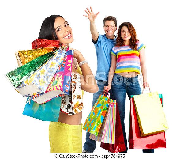 vrolijke , winkelende mensen - csp4781975