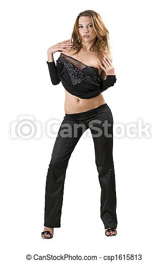 vrouw, beauty, jonge, vrijstaand, suit., black , sexy - csp1615813