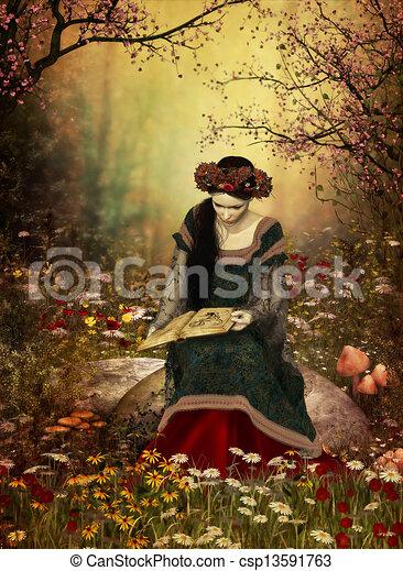 vrouw, boek, lezende  - csp13591763