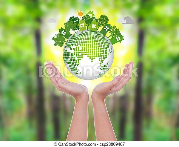 vrouw, eco, op, groen bos, handen, aarde, houden, vriendelijk - csp23809467