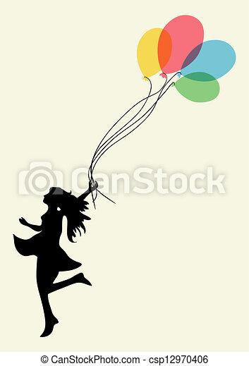 vrouw, geluk, prestatie - csp12970406