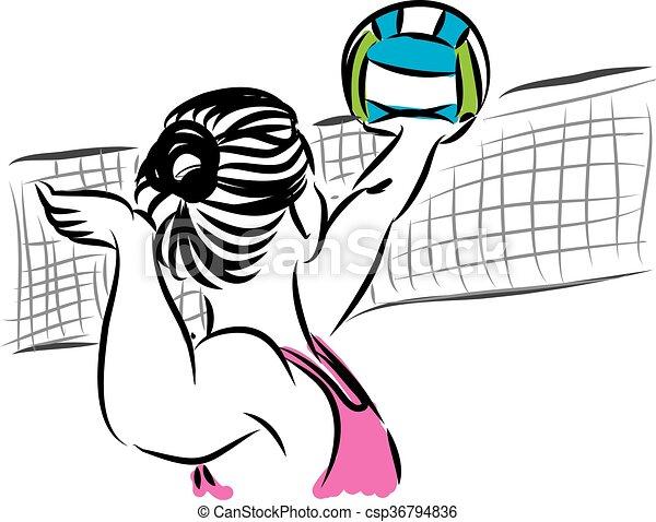 vrouw, illustr, speler, 3, salvo, strand - csp36794836