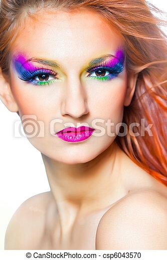Vrouw Lang Veelkleurig Haar Make Up Rood Vrouw Lang