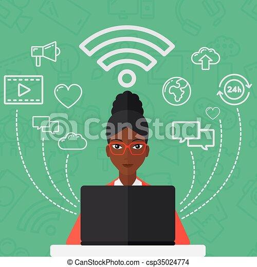 vrouw, laptop., werkende  - csp35024774