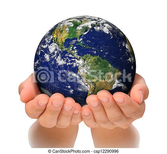 vrouw, noorden, haar, globe, vasthouden, amerika, handen, zuiden - csp12290996