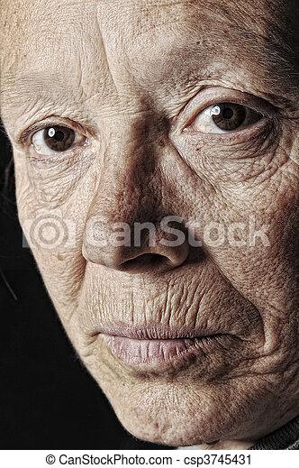 vrouw, oud, gezicht - csp3745431