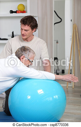 vrouw, oud, stand, rehabilitatie - csp8770336