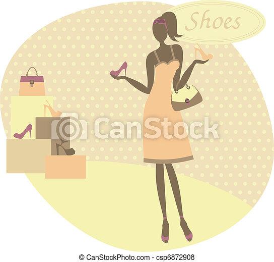 vrouw, schoentjes, aankoop - csp6872908
