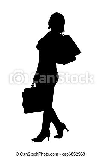 vrouw, silhouette - csp6852368