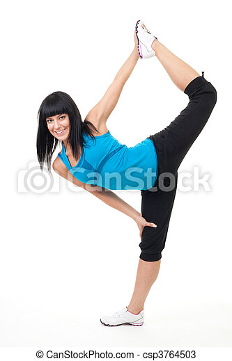 vrouw stretching, oefening - csp3764503