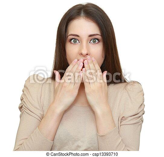 vrouw, vrijstaand, geshockeerde, het kijken, mond, handen, vrees - csp13393710
