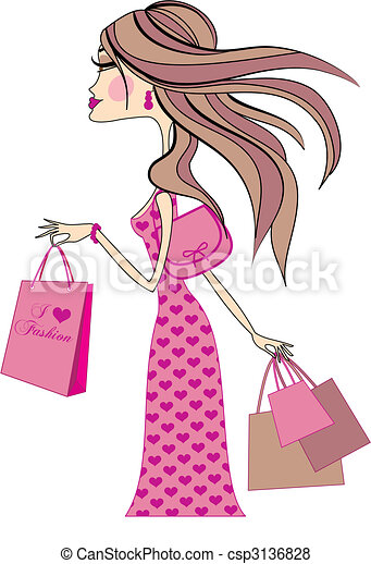 vrouw winkelen - csp3136828