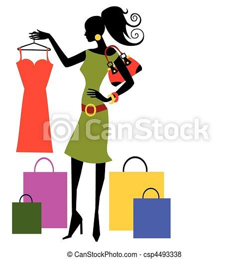 vrouw winkelen - csp4493338