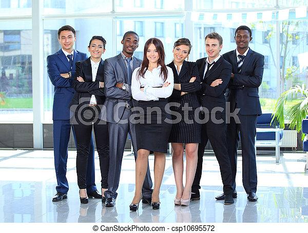 vrouw zaak, haar, jonge, achtergrond, team, vrolijke  - csp10695572