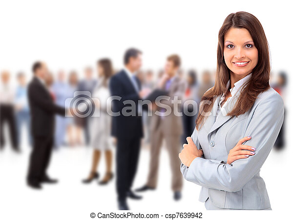 vrouw zaak, vrolijke , jonge, team, staand, haar, voorkant - csp7639942